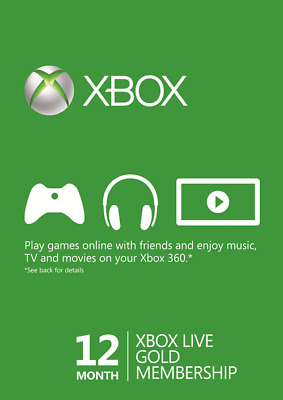 Microsoft Xbox LIVE 12 Month Gold Membership code for Xbox 360 / XBOX ONE