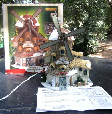 """collectors 2002 LEMAX lighted and animated electric """"East Moorland"""" windmill orn"""