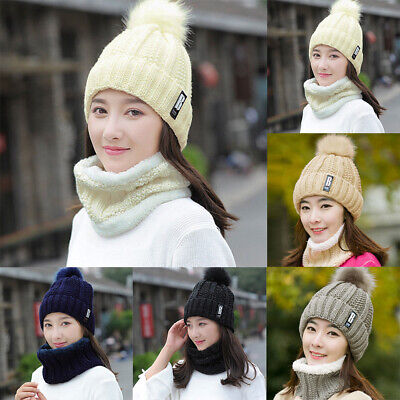 2PCS set Winter Women Ladies Wooly Thick Knit Hat And Scarf Set knitted Woollen