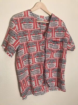 vtg mens all over print 70s button up budweiser shirt thin soft beer hippie Sm