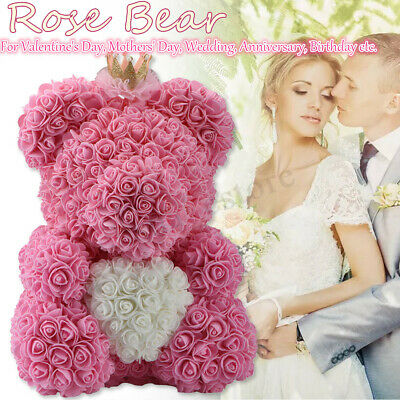 Teddy Bear Rose Flower Decor Wedding Girlfriend Mothers Day Gift Birthday
