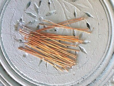 Rose Gold Plated 45 mm long 20 gauge Flat Head Pins Pack of 50 Earring findings