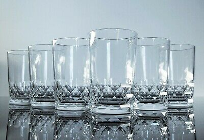 Anciennes 6 Verres Gobelets Cristal Taille Modelé Chauny Baccarat Signe