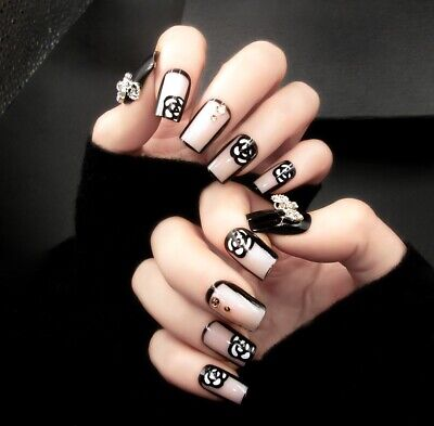 Glamorous glue on nails camellia pattern artificial nails hassle free manicure