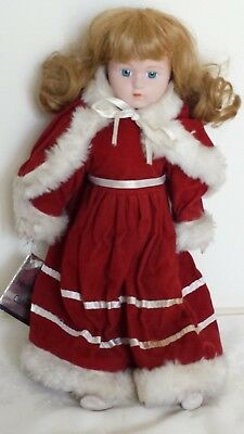 Porcelain Doll In Red Dress And Cape From The Heritage Mint Collection39cms