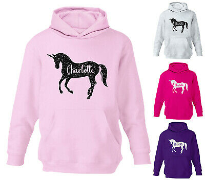 Personalised Unicorn Glitter Girls Hoodie Horse Riding Boys Childrens Hoody Top
