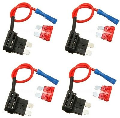 Blade Fuse 4X Add A Circuit Standard Splice Holder ATO ATC Piggy Back Fuses Tap