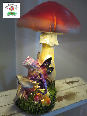 28cm fairy sitting under mushroom night light garden decor reading to dragon