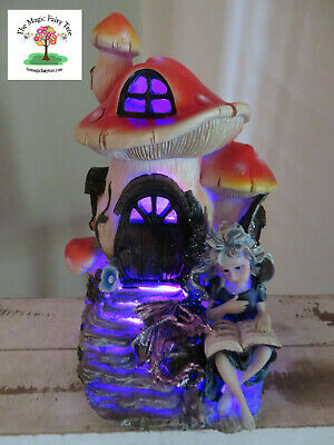 21cm fairy light up mushroom house night light garden decor reading to dragon