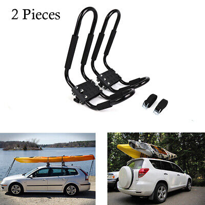 2 PCS Universal Kayak Roof Racks J-Bar Top Mount Car Carrier SUV Truck Black