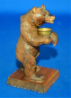 A well carved antique Victorian Black Forest bear figure with thimble