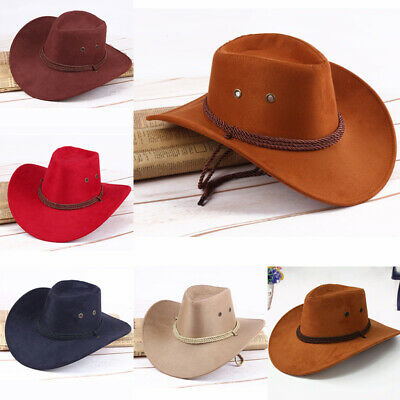UK Fashion Cowboy Hat Suede Look Wild West Cowgirl Unisex Outdoor Camping Hat -