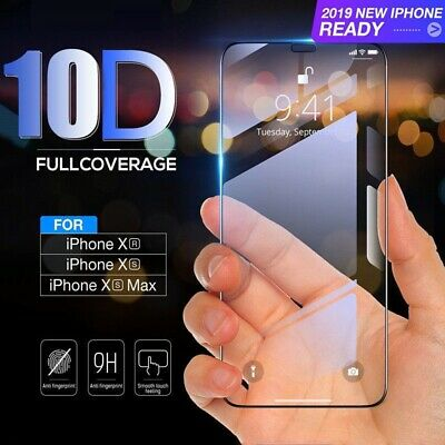10D Curved Tempered Glass Screen Protector For iPhone XS Max XR XS 2019 Case