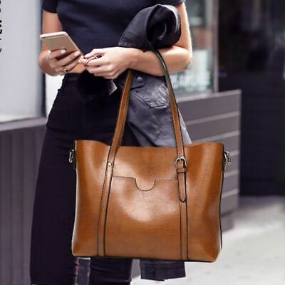 Luxury Oil Wax Leather Women Handbag Shoulder Bag Messenger Large Tote Bags