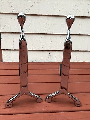 Virginia Metalcrafters Modernist Polished Nickel Chrome Andirons