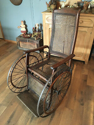 "RARE ANTIQUE ""GENDRON WHEEL CO"" 3 WHEEL WHEELCHAIR w/CANE SEATS & WOOD HANDRAILS"