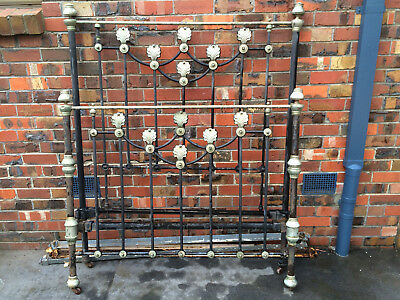 ORIGINAL GRAND VICTORIAN CAST IRON DBL BED, needs some attention like painting