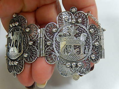 "Art Deco Egyptian Revival 2"" Wide 800 Silver Cannetille Filigree Panel Bracelet"