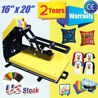 "Vertical Clamshell T-shirt Heat Press Machine 16""x 20"" Heat Transfer Sublimation"