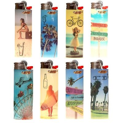 "8 x BIC Lighter ""Vacation"" Series, Brand New w/Butane, Same Day Express Shipping"