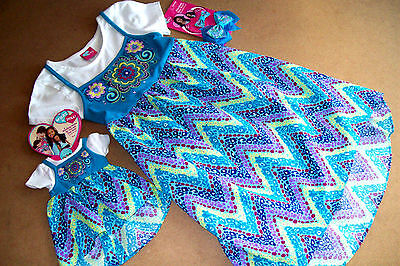 """What A Doll High/Low Blue Floral Dress  (7/8) ++ Matching Dress For 18"""" Doll"""