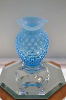 "Fenton VASE MINI Blue Opalescent HOBNAIL 3.5"" TALL  FREEusaSHP"