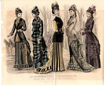1879 Antique Hand colored Fashion Print Peterson's March Leafless  Victorian