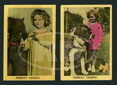 """Pair of 1930s Shirley Temple 2 3/8 x 3 1/2"""" Dutch Color Litho Trading Cards #3"""