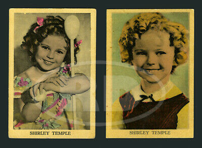 """Pair of 1930s Shirley Temple 2 3/8 x 3 1/2"""" Dutch Color Litho Trading Cards #4"""