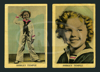 """Pair of 1930s Shirley Temple 2 3/8 x 3 1/2"""" Dutch Color Litho Trading Cards #6"""