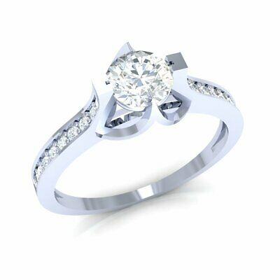 0.33ct Round Cut Real Diamond 14K Gold Engagement Ring Ladies Accent Solitaire