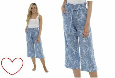 Ladies Girls Trousers Cropped 3/4 Linen Pants Floral Summer