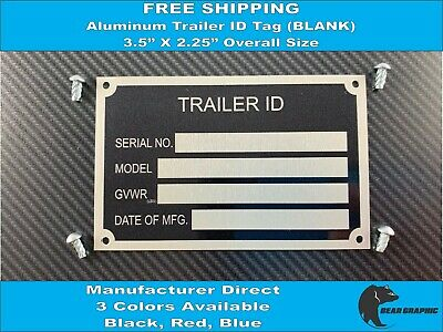 NEW BLANK SERIAL Number Plate Identification Tag 4 Colors