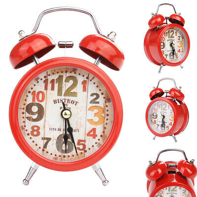 Cute Number Table Alarm Clock Vintage Metal Decoration Pointer Round Home Silent