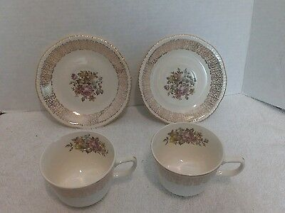 Homer Laughlin, Monticello, Gold Filigree Rim/Floral, 2 Cups and Saucers