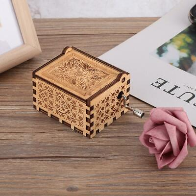 Wooden Hand Crank Carved Engraved Music Box Kids Birthday Gifts Ornaments Decor