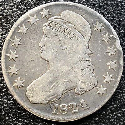 1824 Capped Bust Half Dollar 50c Circulated #13450