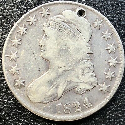 1824 Capped Bust Half Dollar 50c Circulated #13451