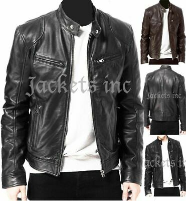 Mens Vintage Cafe Racer Black Brown Genuine Leather Slim Fit Real Biker Jacket
