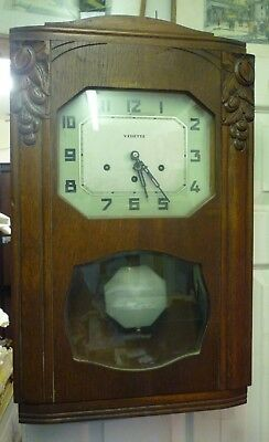 Good Art Deco Vedette Westminster Chime Wall Clock In Full Working Order