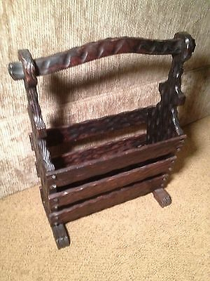 Vintage Rustic Carved Wood Magazine Stand Cabin