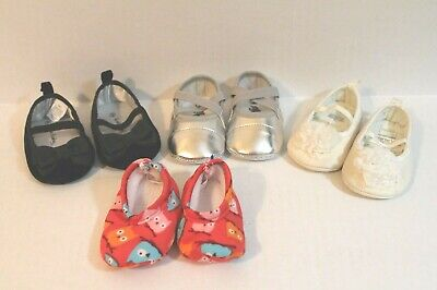 LOT of 4 Pairs Infant Baby Girl Crib Shoes & Slippers Size 1 ,2, 3 Crib Shoe Lot