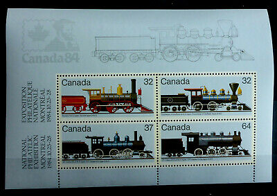 "CANADA #1039a MNH**  S/S ""1984 NATIONAL  MONTREAL STAMP EXHIBIT""  LOCOMOTIVES"