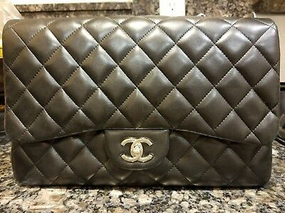 472827c15581 chanel jumbo black 100%Auth lambskin pre-owned very good condition silver  hardwr