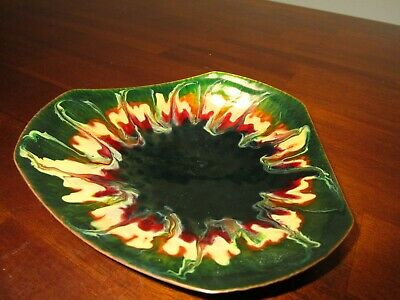 Gouliermis Greece Hand Made Enamel over Copper Candy Trinket Midcentury Dish