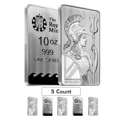 Lot of 5 - 10 oz Britannia Silver Bar .999 Fine (Sealed)