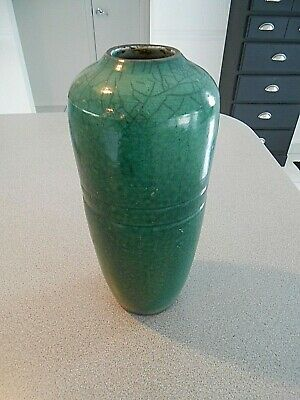 "ART POTTERY VASE ARTS & CRAFTS MISSION  style  Green Verdi  SIGNED  12"" High"