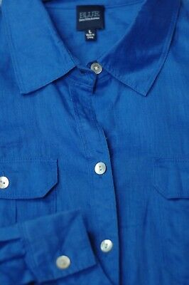 Saks Fifth Avenue Women's Royal Blue Over Roll Up Sleeves Blouse Shirt L Large