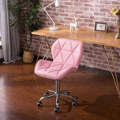 Pink Cushioned Office Chair Computer Desk Chrome Legs Lift Adjustable Swivel