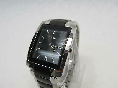 Bulova Classic Men's 98A117 Quartz Black Dial Two-Tone Bracelet 39mm Watch 8in